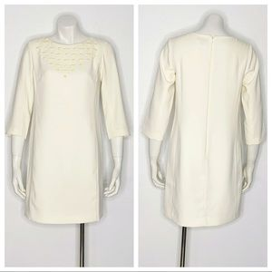 Ann Taylor Ivory Beaded 3/4 Sleeve Shift Dress